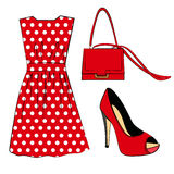 Romantic red polka dots dress, shoe and handbag  on white Stock Photo