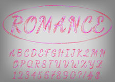 Romantic red and purple script typeface. Valentines day love letters. Royalty Free Stock Photography