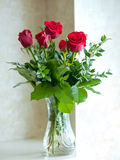 Romantic red roses. In glass vase Stock Images