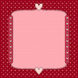 Romantic red Valentine heart background. Romantic red background with dots and hearts vector illustration