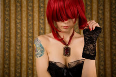 Romantic redhead woman. Glamour background royalty free stock images