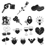 Romantic relationship black icons in set collection for design. Love and friendship vector symbol stock web illustration. Romantic relationship black icons in Royalty Free Stock Images