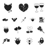 Romantic relationship black icons in set collection for design. Love and friendship vector symbol stock web illustration. Romantic relationship black icons in Royalty Free Stock Image