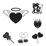 Romantic relationship black icons in set collection for design. Love and friendship vector symbol stock web illustration. Romantic relationship black icons in Royalty Free Stock Photo