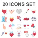 Romantic relationship cartoon icons in set collection for design. Love and friendship vector symbol stock web. Romantic relationship cartoon icons in set Royalty Free Stock Photos