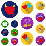 Romantic relationship flat icons in set collection for design. Love and friendship vector symbol stock web illustration. Romantic relationship flat icons in set Royalty Free Stock Photo