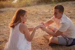 Romantic relationship of man and woman. stock photos