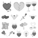 Romantic relationship monochrome icons in set collection for design. Love and friendship vector symbol stock web. Romantic relationship monochrome icons in set Royalty Free Stock Image