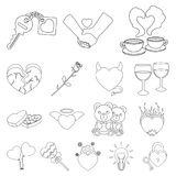 Romantic relationship outline icons in set collection for design. Love and friendship vector symbol stock web. Romantic relationship outline icons in set Royalty Free Stock Photos