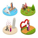 Romantic Relationship Signs 3d Icons Set Isometric View. Vector. Romantic Relationship Signs 3d Icons Set Isometric View Happy Couple Love Together Concept Stock Image