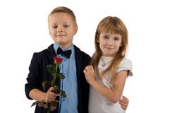 Romantic relationship between young children. Royalty Free Stock Photo