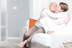 Romantic relaxed barefoot middle-aged couple Royalty Free Stock Photo