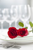Romantic restaurant dinner setting Stock Photo