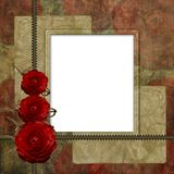 Romantic retro background with  frame and roses Royalty Free Stock Photography