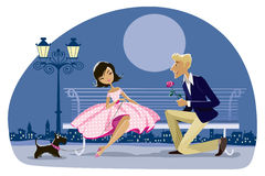 Romantic retro couple with a dog. Cartoon of a romantic couple date, night city in the background Royalty Free Stock Photography