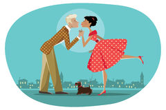 Romantic retro couple kissing. Vector illustration of a retro style couple walking a dog and kissing; background can be easily removed Stock Photography