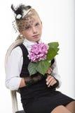 Romantic retro girl with flower Stock Photo