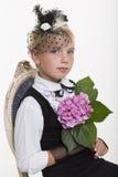 Romantic retro girl with flower Royalty Free Stock Photo