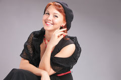 Romantic retro portrait of pretty woman in beret Stock Photo