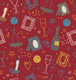 Romantic retro seamless background with photo frames, candles, hearts, stars, goblets and bottles of vine. Endless cute pattern wi Royalty Free Stock Image