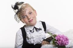 Romantic retro style girl with flower Stock Photos