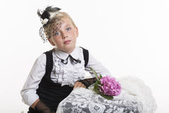 Romantic retro style girl with flower Royalty Free Stock Photos