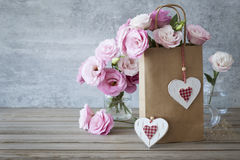 Romantic  Retro style Love background with roses Stock Image
