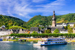 Romantic Rhein river cruises. Beautiful Cochem town. Germany Stock Photography