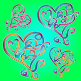 Romantic ribbon hearts Royalty Free Stock Photography