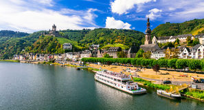 Romantic river cruises over Rhein - medieval Cochem town. German Royalty Free Stock Photo