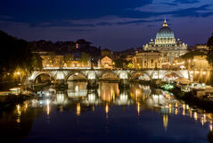 Romantic Rome. Picturesque view of St. Peter's Basilica from river Tiber Royalty Free Stock Photography