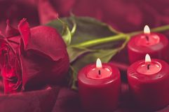 Romantic Rose and Candles Royalty Free Stock Photos