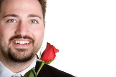 Romantic Rose Man. Isolated romantic man holding rose Royalty Free Stock Photos