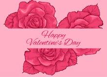 Romantic Rose Retro Valentine`s Day. Romantic Rose backgroud Valentine`s Day Vector Illustration for celebrate your valentine Stock Photos