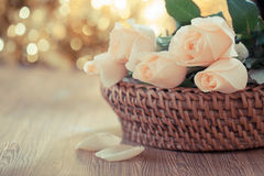 Romantic rose vintage style. Vintage roses and background of bokeh stock photo