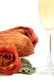 Romantic rose and wine Royalty Free Stock Photos