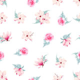 Romantic roses and magnolia seamless vector pattern. Romantic pink roses and magnolia seamless vector pattern Stock Image