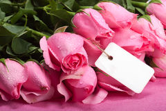 Romantic roses with note. Romantic wet roses with a note attached Stock Image