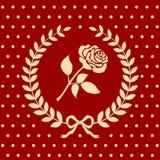 Romantic roses pattern in a laurel wreath Stock Photos