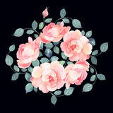 Romantic roses watercolor bouquet illustration Royalty Free Stock Photo