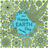 Romantic round background with flowers, birds and ladybug. Text Happy Earth Day and think green. Stock Image