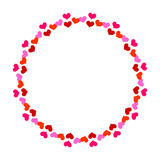 Romantic round frame with small red hearts Stock Images