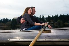 Romantic Row Boat ride Stock Images