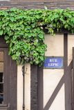 Romantic Rue Lepic Plaque with wood and creeper, Paris Stock Photos