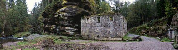 Romantic ruin of Dolsky mlyn in Ceskosaske Svycarsko Royalty Free Stock Photos