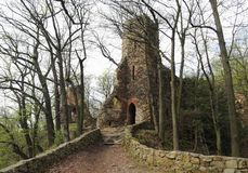 Romantic ruine Old Ksiaz in Walbrzych in Lower Silesian Voivodeship, Poland Royalty Free Stock Photo