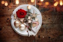 Romantic rustic christmas table decoration. With bokeh effects for a dinner Stock Images