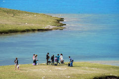 A romantic Sailimu --- cozy holiday. The Xinjiang the highland lakes Sailimu, pleasant holiday Royalty Free Stock Image
