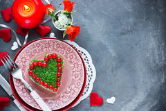 Romantic salad shaped heart on Valentines Day Royalty Free Stock Photos