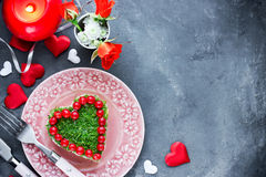 Romantic salad shaped heart on Valentines Day Royalty Free Stock Photo